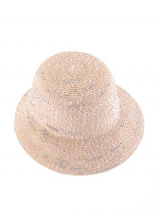 SEEBERGER Bež šešir sa plavobelim nitima