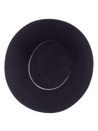 SEEBERGER Elegantan crni damski šešir sa sjajnom trakom