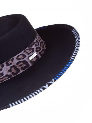 SEEBERGER Crni šešir sa leopard trakom