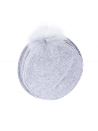 SEEBERGER Crna kapa-šešir sa kićankom od pravog krzna