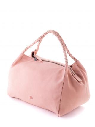 BIBA Avon Roze kožna tašna sa pletenim ručkama