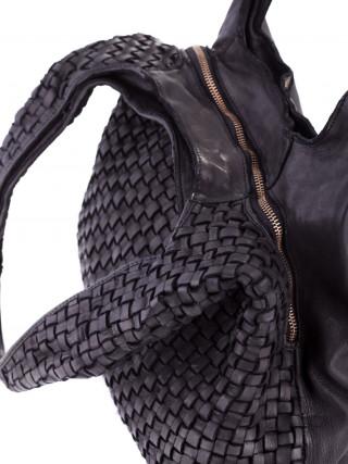 BIBA Kansas Crna kožna ručno pletena tašna