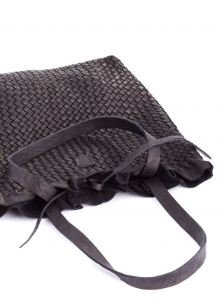 BIBA Lawson Crna kožna ručno pletena tašna sa karnerom