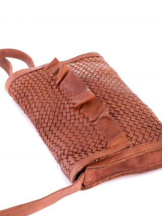 BIBA Lawson Kamel kožna ručno pletena tašnica sa karnerom