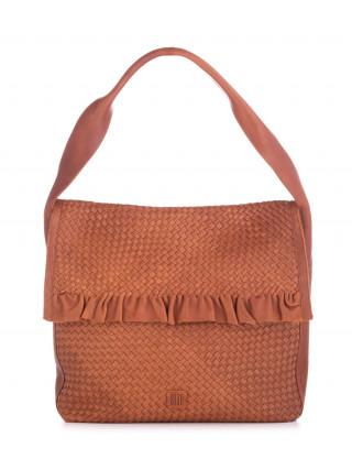 BIBA Lawson Kamel kožna ručno pletena tašna