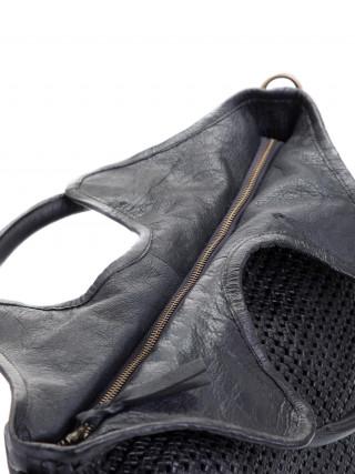 BIBA Niwot Crna kožna ručno pletena tašna