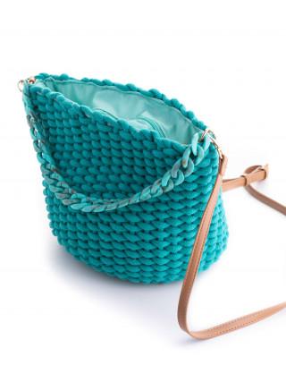 SIMOSASTRE Dorys Tirkiz pletena tašnica