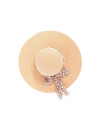 KBAS Braon šešir sa mašnom u leopard printu