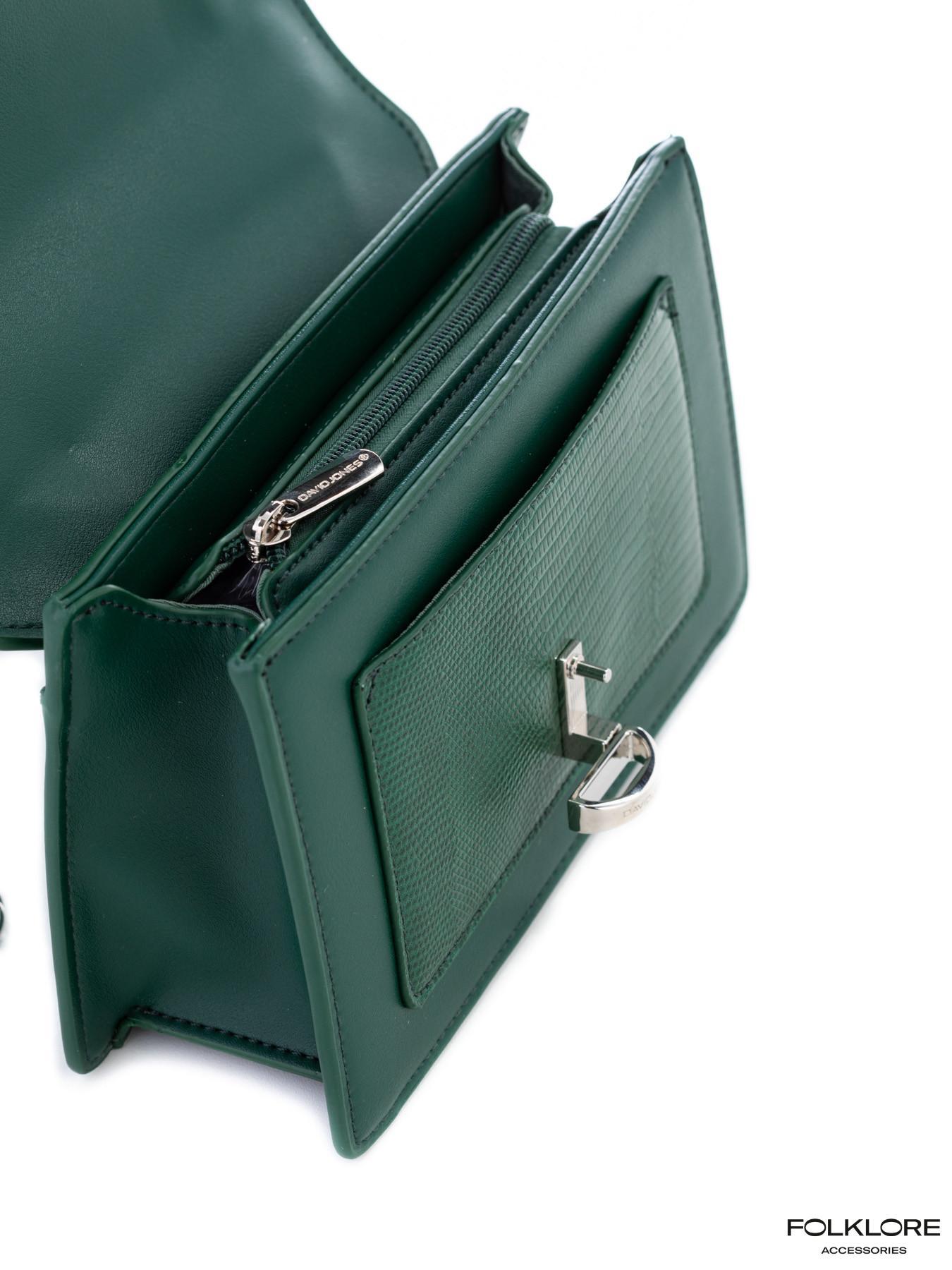 DAVID JONES Elegantna zelena tašnica sa srebrnim lancem