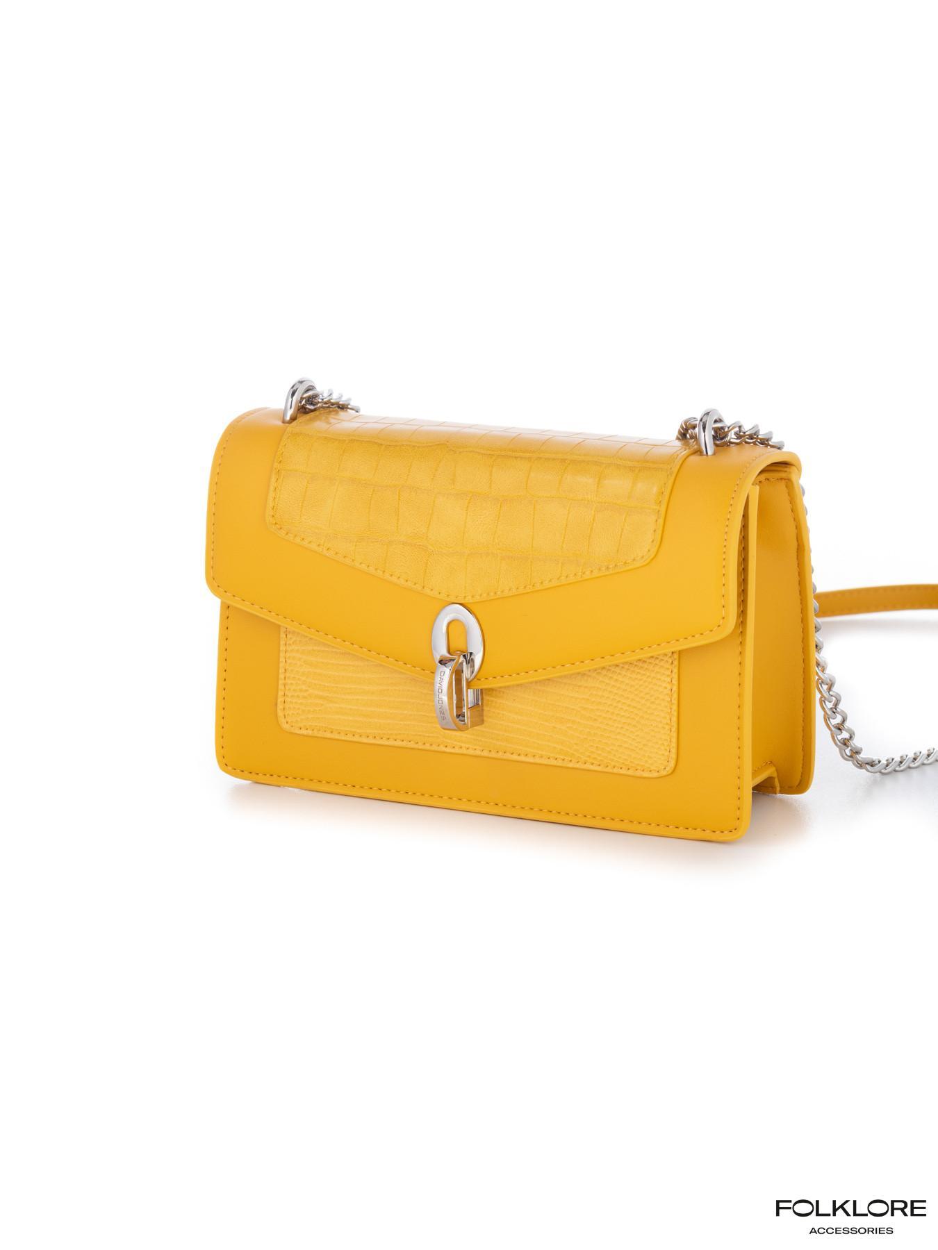 DAVID JONES Elegantna žuta tašnica sa srebrnim lancem