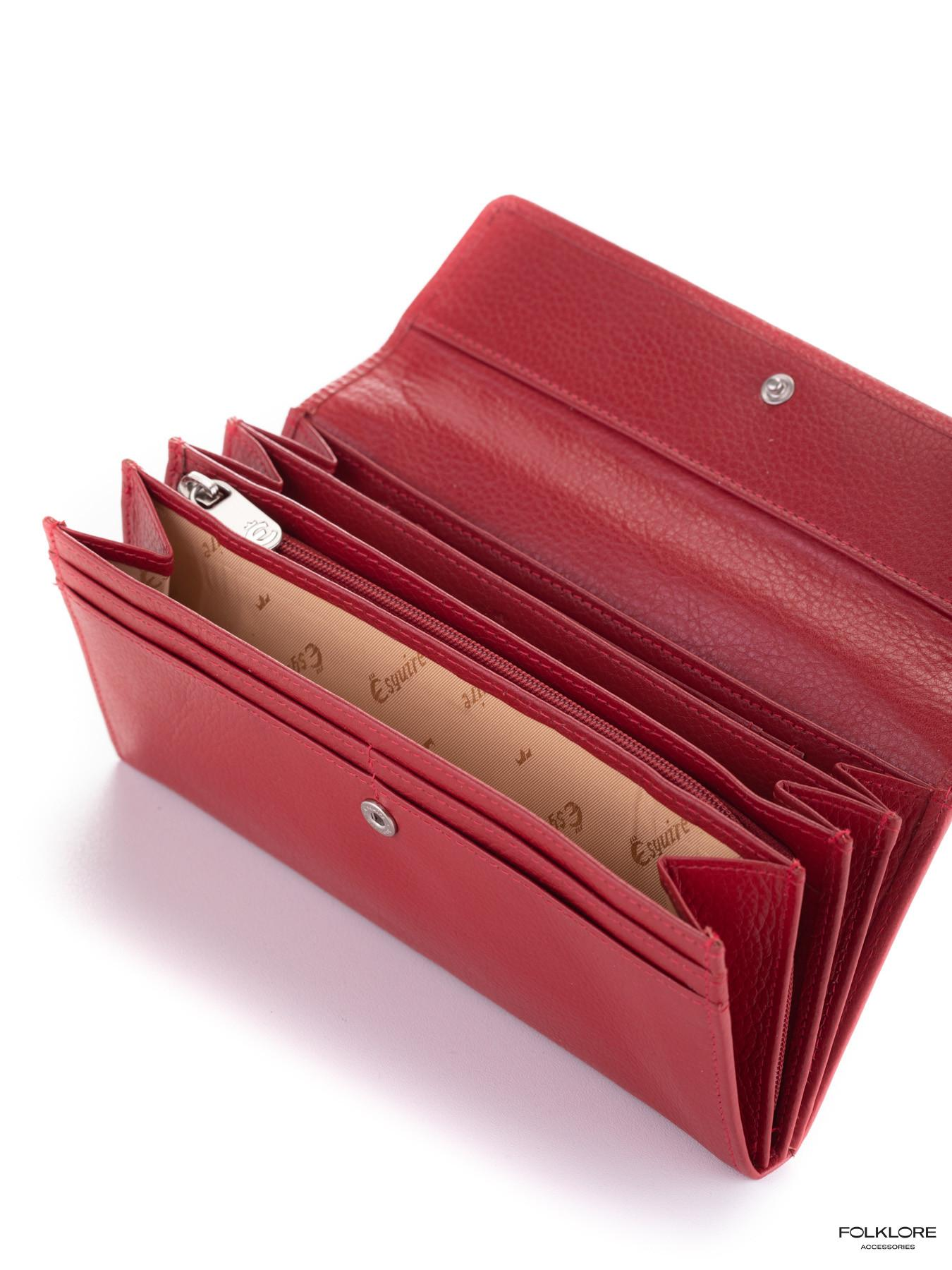 ESQUIRE Crveni veliki kožni novčanik na preklop