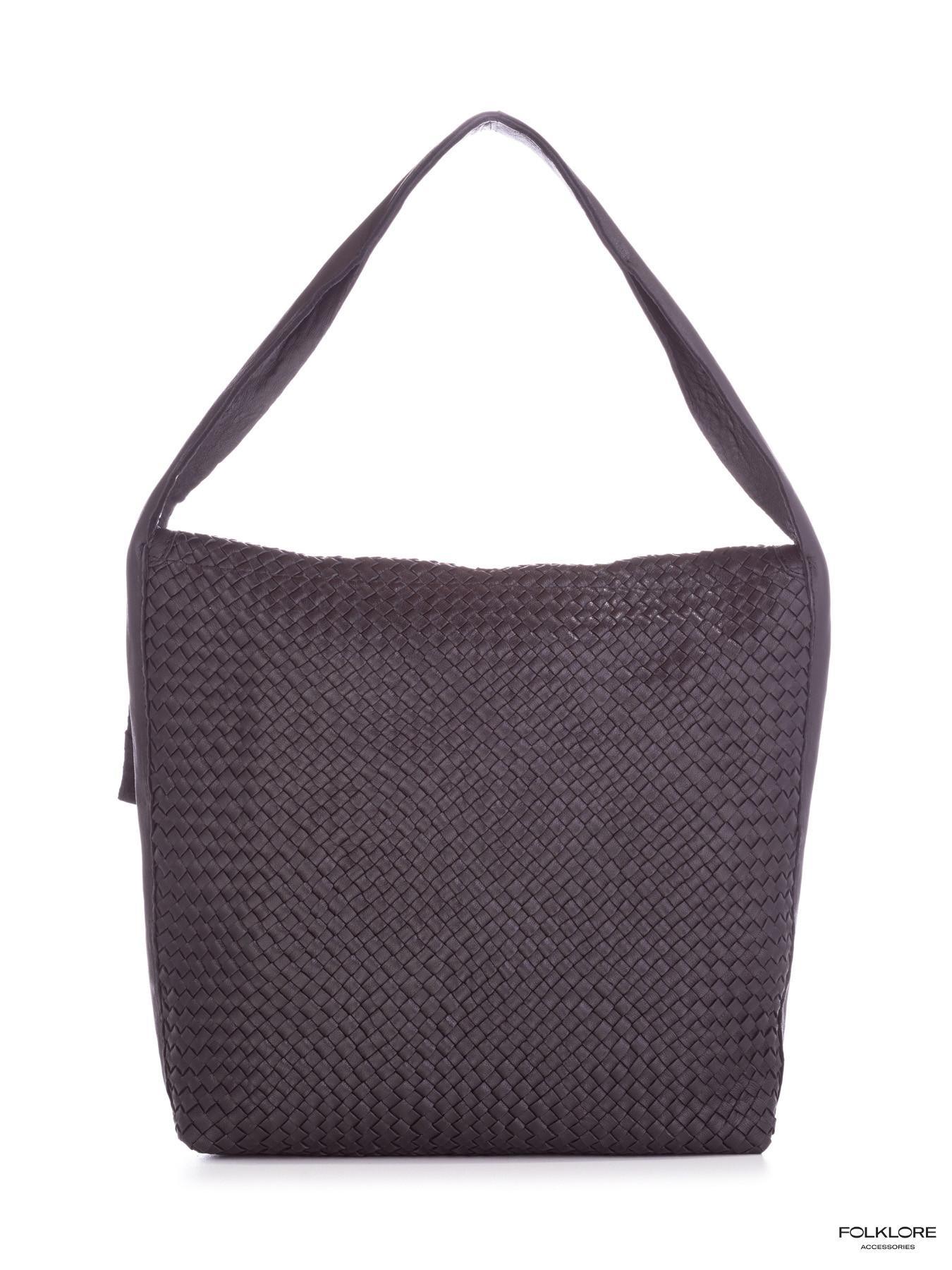BIBA Lawson Crna kožna ručno pletena tašna
