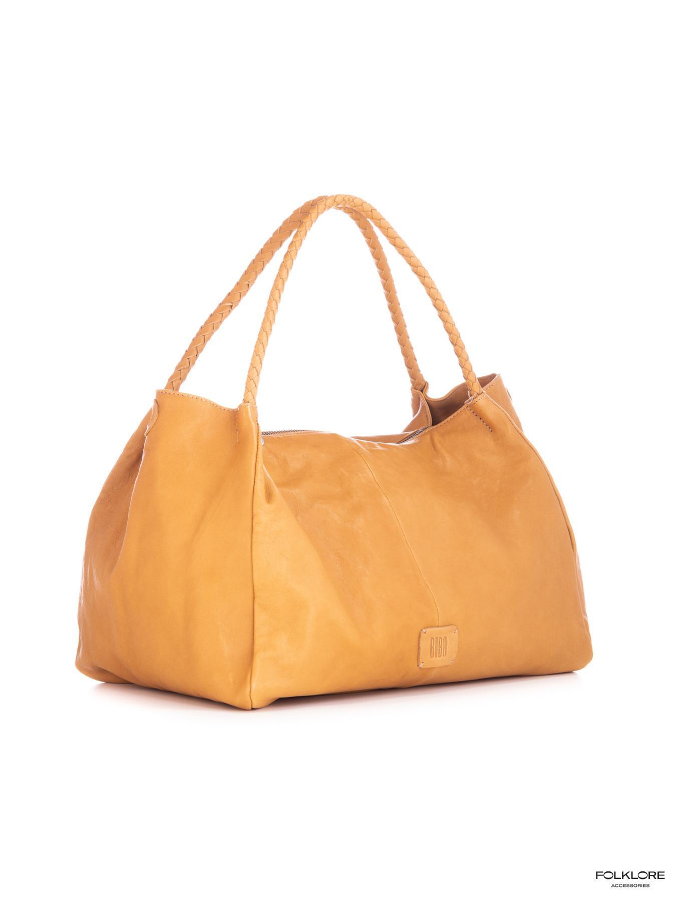 BIBA Avon Žuta kožna tašna sa pletenim ručkama